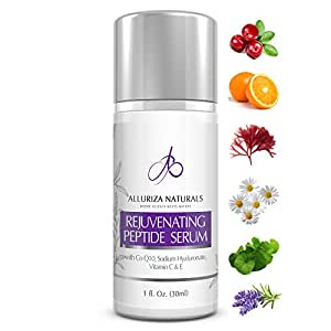 Rejuvenating Peptide Face Serum by Alluriza Naturals, Anti Aging, Anti Wrinkles, Collagen Booster, Brightening, Antioxidants, Hyaluronic Acid, Vitamin C E, CoQ10, Improves Elasticity & Discoloration, New Improved Formula, 30ml