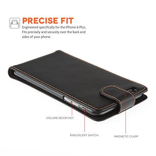 Yousave Accessories iPhone 6 Plus Tasche Schwarz PU Leder Klapp Hülle Mit Mini Griffel Stift