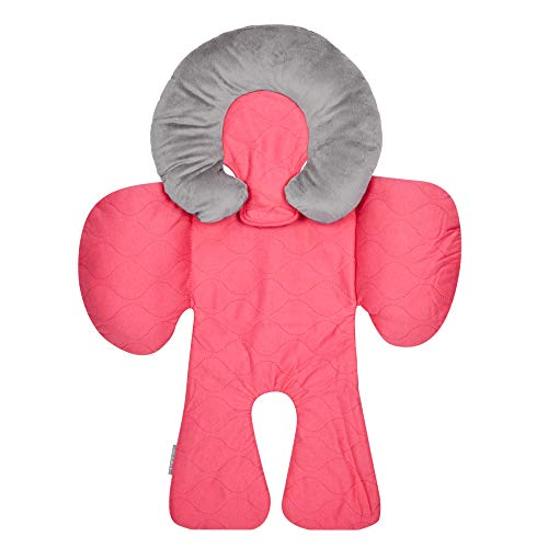 JJ Cole - Reversible Body Support, 2-Piece Insert for Car Seat and Stroller, Adjustable for Age and Season, Bright Pink Sassy Wave, Birth and - Support Upright Adjustable