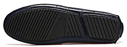 Abby 9099 Menns Komfort Stilige Uformelle Loafers Slip-on Arbeid Kjøring Pustende Skinn Sko Svart