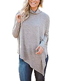 Womens Long Batwing Sleeve Loose Hankerchief Hem Turtleneck Casual Tunic Tops