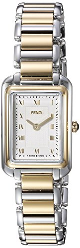 Fendi Women's 'Classico Rect' Swiss Quartz Two and Stainless Steel Dress Watch, Color:Silver-Toned (Model: F701124000) (Two Tone Womens Watch Luxury)