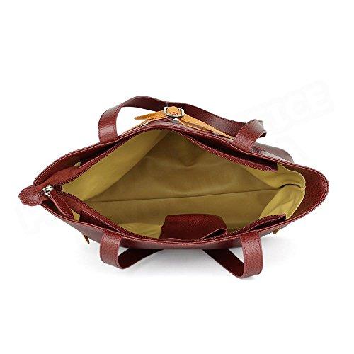 Sac Cabas Shopping Amélie cuir Rouge bordeaux Beaubourg