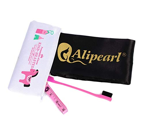 Ali Pearl Silky Edge Styling Scarf Frontal Headband & Edge Brush for Baby Hair & Soft Tape Measure & Cute Makeup Bag Set to Make Perfect Edges