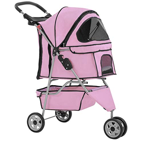 BestPet New Pet Stroller Cat Dog Cage 3 Wheels Stroller Travel Folding Carrier ()