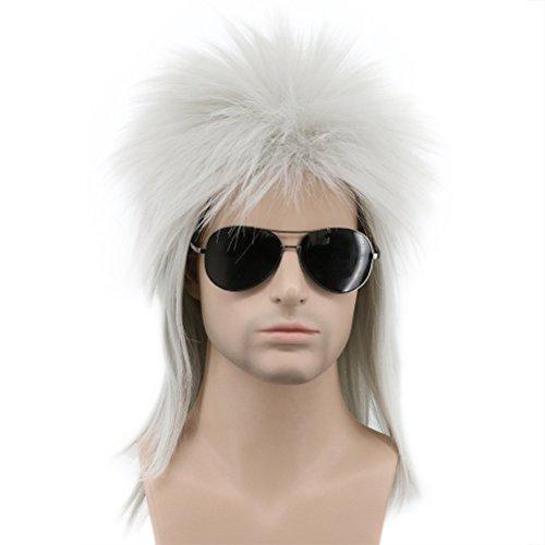 Karlery Men Women Long Straight Gray 70s 80s Heavy Metal Rocker Wig Punk Rock Wig