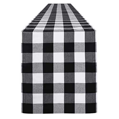 Syntus 14 x 108 inch Buffalo Check Table Runner Cotton-Polyester Blend Handmade Black and White Plaid for Family Dinner, Outdoor or Indoor Parties, Thanksgiving, Christmas & Gathering (Beige Curtains Red And Check)