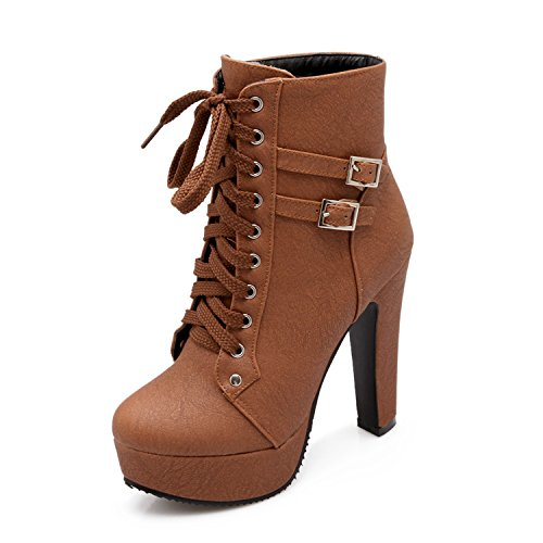 Jazz Club Solo (Odetina Brown&c-3 Women's Sexy Platform Chunky High Heels Lace-up Buckle Strap Ankle Boots Size 8.5 (B) M US)