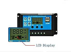 nuzamas regulador de 12/V//24/V Panel Solar controlador de carga 20/A PWM Pantalla LCD USB puerto