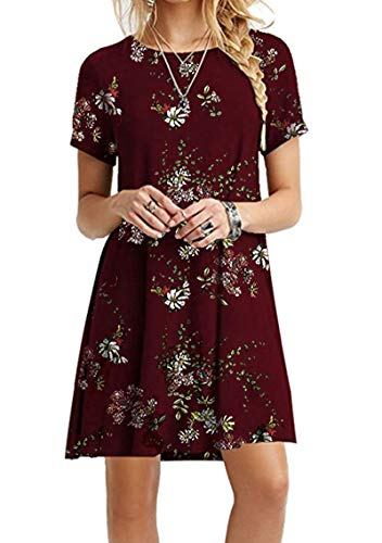 YMING Womens Floral Beach Casual Dress Short Sleeve Loose Dress Floral Print Dress Wine Red XL