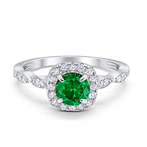 Blue Apple Co. Art Deco Wedding Engagement Ring Round Simulated Green Emerald Cubic Zirconia Solid 925 Sterling Silver Size-12 (Engagement Mens Green Rings)