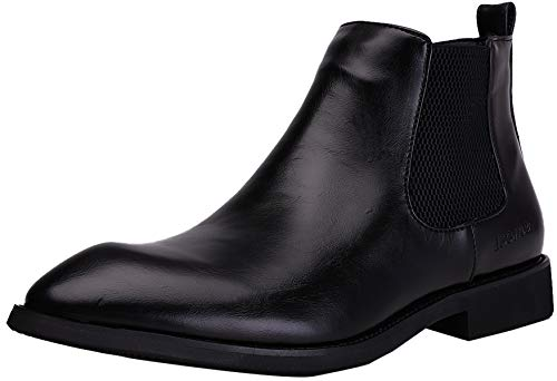Men's Leather Chelsea Boots Comfortable Classic Fashion Dress Casual Shoes Pull Up Ankle Boots Size 6.5-10