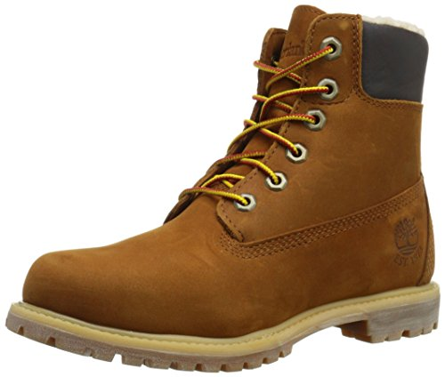 Timberland 6in Premium Fleece L Orange - Botas Track Mujer marrón (Rust Nubuck)