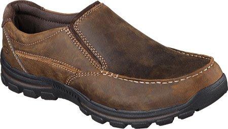 Skechers USA Men's Braver Rayland Slip-On Loafer, Dark Brown Leather, 10 M US