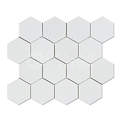 Thassos White Greek Marble 3 inch Hexagon Mosaic Tile, Honed