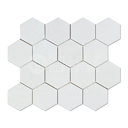 Thassos White Greek Marble 3 inch Hexagon Mosaic Tile, Polished -