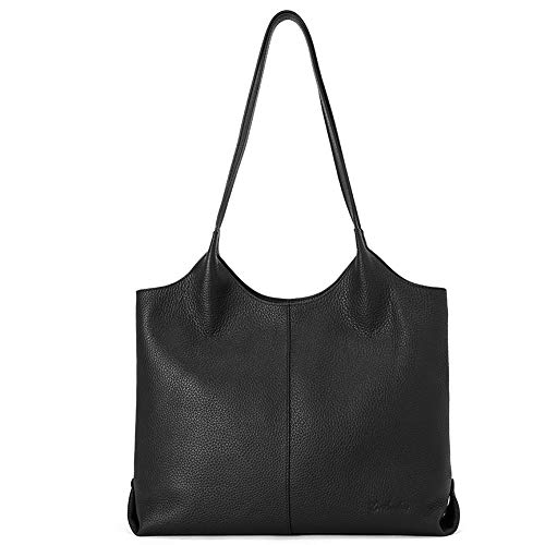 Large Designer Handbag Tote - BOSTANTEN Women Designer Shoulder Tote Handbag Soft Genuine Leather Top-handle Purses black