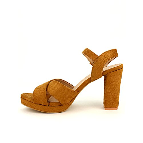 Femme Chaussures Sandale Cendriyon Peau Bo'aime Simili Caramel C8YYwq1
