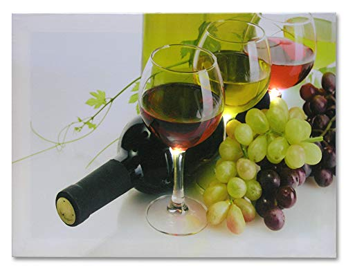 BANBERRY DESIGNS Wine and Grapes Lighted Picture - LED Wine Canvas Print - Wine Themed Radiant Lit Canvas - Wine Glasses with Grapes and Bottle - 12x16 Inch