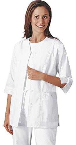(Cherokee Women's 3/4 Sleeve Embroidered Jacket, White Medium)