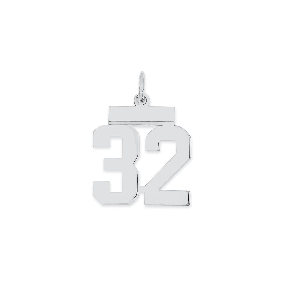 Jewel Tie 925 Sterling Silver Small Polished Number 32 8mm x 20mm
