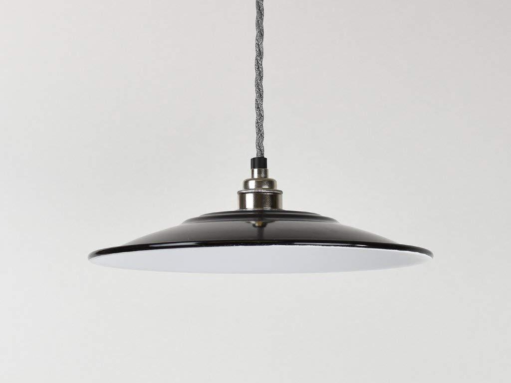 Jet Schwarz Flach Industrie Emaille Vintage Factory Lager-Stil Lampe Schatten