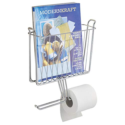 mDesign Modern Metal Bathroom Wall Mount Magazine Holder with Toilet Tissue Paper Dispenser - Holds Magazines, Books, Newspapers and Tablets - Holds 2 Extra Paper Rolls - ()