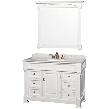 Wyndham Collection Andover 48 Inch Single Bathroom Vanity In White, White  Carrera Marble Countertop, White Undermount Round Sink, And 44 Inch Mirror