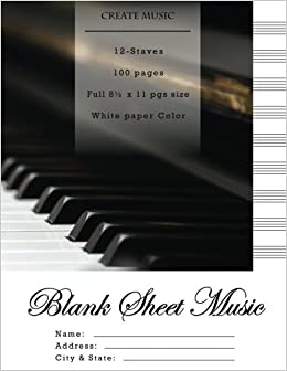 Amazon com: Blank Sheet Music: Music Manuscript Paper, Staff
