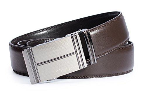 POYOLEE Men's Leather Belt 1.38 Inch Wide, Automatic Buckle for No Holes Adjustable Ratchet Dress Belt