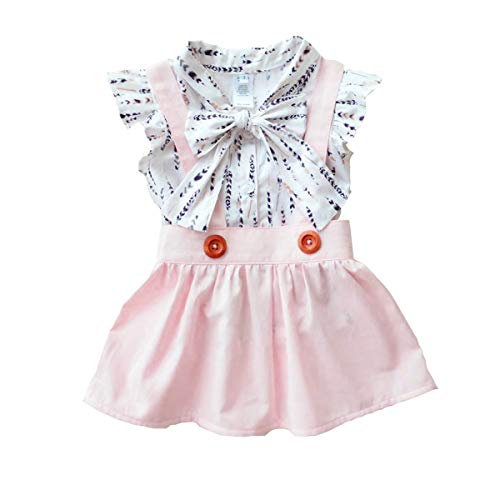 Baby Girl Skirt Outfit Toddler Infant Girls Feather T Shirts +Pink Suspender Dress Clothing Set ()