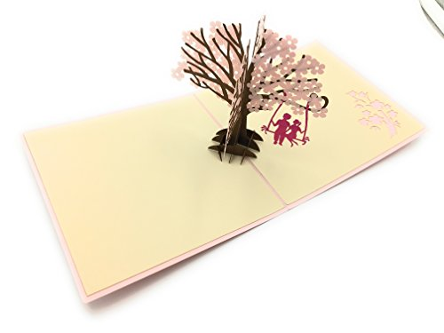 Perfect addition to flowers for delivery, wedding, anniversary or birthday gift- Handcrafted 3D pop-up card