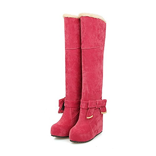 AmoonyFashion Womens High-Heels Solid Closed Round Toe Frosted Pull-on Boots Red DQVzIJVvaQ