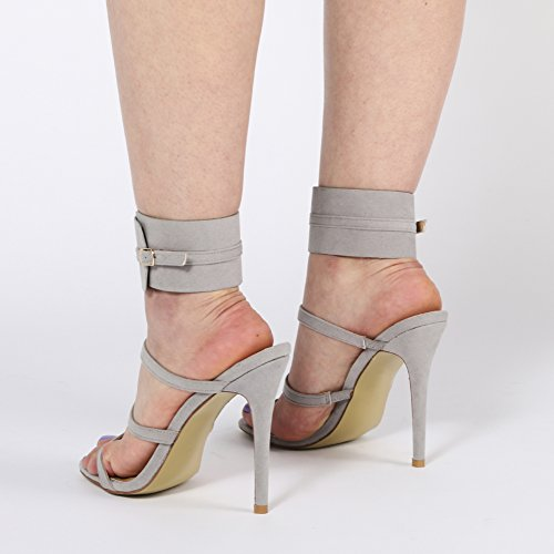 Womens Multiple T-Strap Stiletto Ankle Cuff High Heels Grey Faux Suede 3-8 D6fjq5s