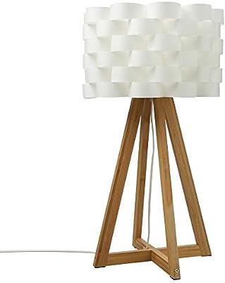 Lámpara de mesa de estilo puro y simple - Pie de bambú y pantalla ...