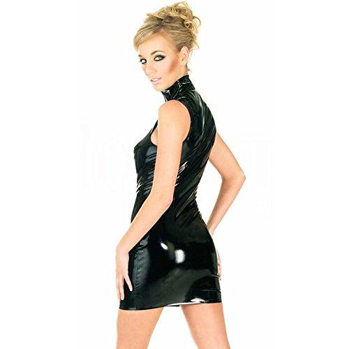 Reizvoller schwarze ärmellose PVC-Minikleid Abend der Frauen tragen