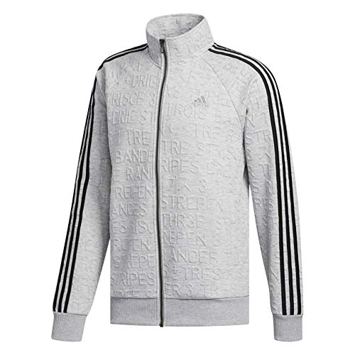 adidas Men's Athletics Badge of Sport 3 Stripe Cotton Fleece Pullover, Medium Grey Heather, XX-Large