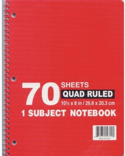 Quadruled - Note Book - 70 sheets - 10.5'' x 8'' 48 pcs sku# 1276272MA by DDI