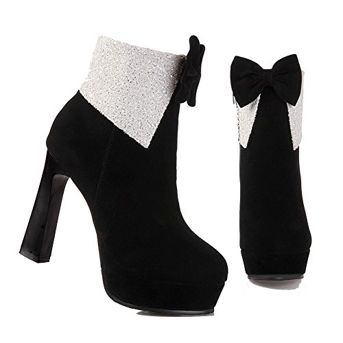 AgooLar Women's Ankle-high Zipper Frosted High-Heels Round Closed Toe Boots Black QdAxDsvs