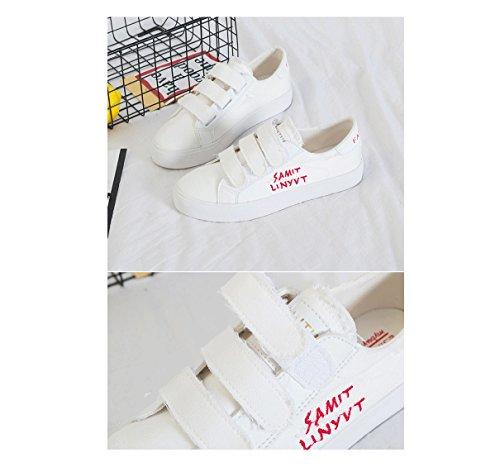 Klett-Turnschuhe flache Schuhe atmungsaktive Sommer lässig Sportschuhe Damen Schuhe ( Farbe : Weiß , größe : 39 )