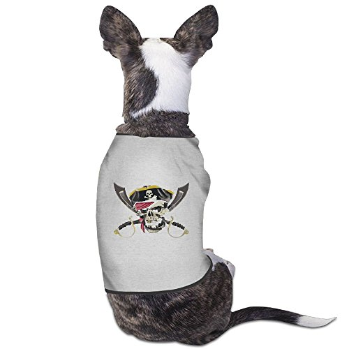 Skkoka Fashion Sleeveless Pet Supplies Dog Cat Clothes Pirate Skull Crossed Swords Pet Apparel Clothing M Gray