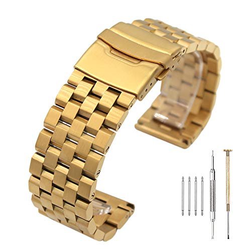 Brushed Gold 316L Solid Stainless Steel Watch Band Bracelet Strap 20mm/22mm/24mm Double Locking Clasp for Mens Women