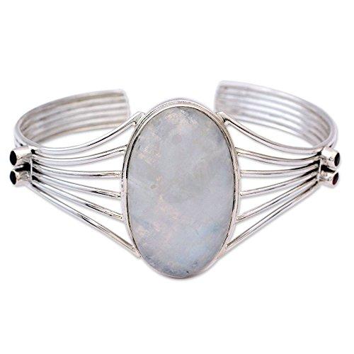 NOVICA Multi-Gem Moonstone - Rainbow .925 Sterling Silver Cuff Bracelet 'Rainbow Mist'