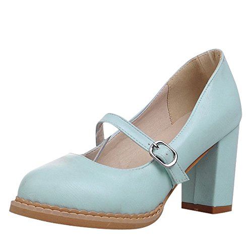 Carolbar Womens Sweet Lolita Barbie Style Buckle High Heel Mary Janes Shoes Blue