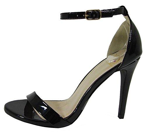 Delicious Women's Dress Ankle Strappy Open Toe Stiletto Heel Sandal (7.5 B(M) US, Black ()