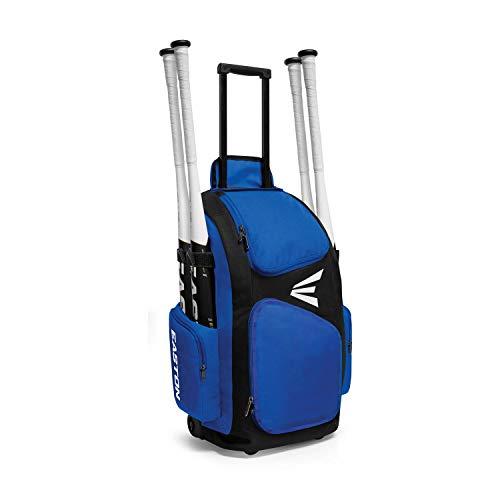 EASTON TRAVELER Bat & Equipment Wheeled Bag | Baseball Softball | 2019 | Royal | 4 Bat Sleeves | Vented Gear & Shoe Compartments | 2 Side Zippered Pockets | Telescope Handle | Stands Up | Fence Hook (Best Wheeled Baseball Bag)