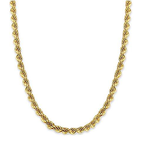 24Inch 7MM Twisted Rope Chain, 24K Gold Premium Fashion Jewelry Pendant Necklace Made to Wear Alone or with Pendants Unisex, Guaranteed For Life