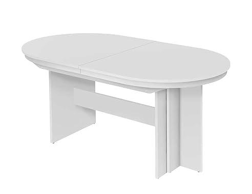 Esstisch Oval In Weiß, Mit 3 Auszugsplatten Je 50 Cm, Ausziehbar Auf 310 Cm