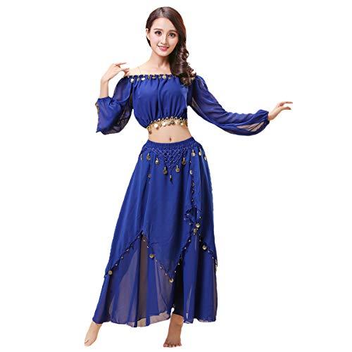 Maylong Women's Lantern Sleeve Belly Dance Skirt Halloween Costume DW60 (Royal Blue)]()