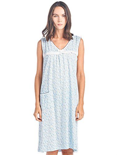 Knit Gown - Casual Nights Women's Cotton Sleeveless Nightgown Sleep Shirt Chemise - White Blue - X-Large